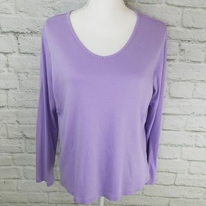 L.L. Bean Lavender Long Sleeve T-Shirt